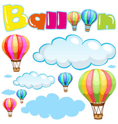 Balloons and clouds in sky vector