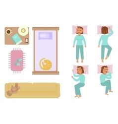 Bedroom and sleeping woman vector