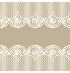Beige background with two white lacy borders vector