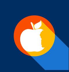 Bited apple sign white icon on tangelo vector