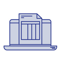 Blue silhouette of laptop computer and billing vector