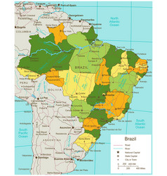 Brazil political map with selectable territories vector