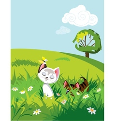 Cats in grass vector image