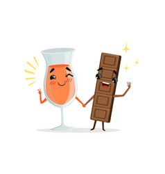 Cheerful glass of orange drink and chocolate bar vector