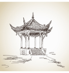 Chinese pavilion vector