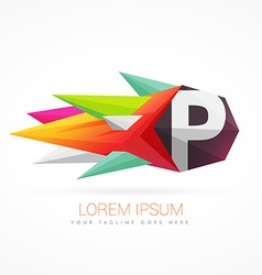 colorful abstract logo with letter P vector image