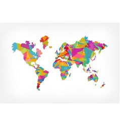 colorful triangle world map concept vector image