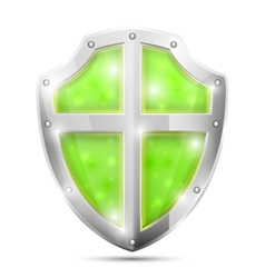 Glossy Magic Green Shield Icon vector image
