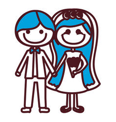 hand drawing silhouette caricature couple in vector image