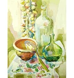Handmade watercolor kitchen still life vector
