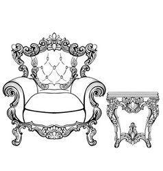 Imperial baroque armchair and coffee table with vector