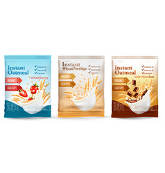 instant porridge advert concept desing template vector image vector image