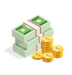Isometric money isolated on white background vector