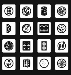 Japan food icons set squares vector