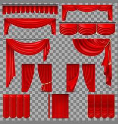luxury set of red velvet silk curtains eps 10 vector image