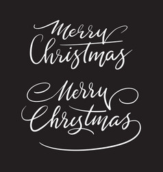 merry christmas handwriting calligraphy vector image