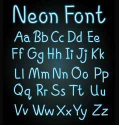 neon font for english alphabets vector image