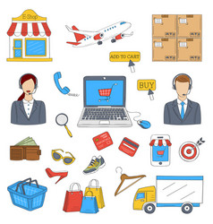 online shopping hand drawn doodle icons set vector image vector image