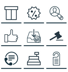 Set of 9 commerce icons includes price telephone vector