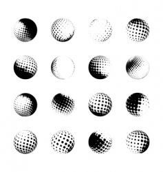 Set of halftone spheres vector