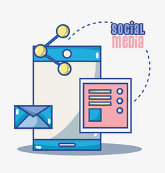 social media technology global communication vector image