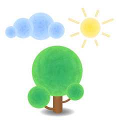 Textured tree cloud and sun optimistic summer vector