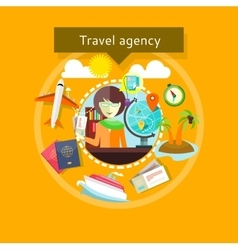 Travel agent with tickets in hands types of travel vector