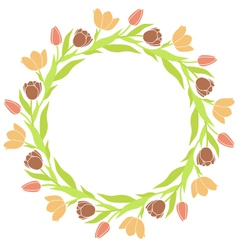 Tulip wreath frame vector