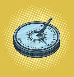 vintage sundial pop art style vector image vector image