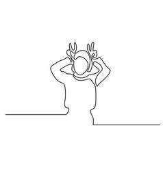 Woman showing horns gesture vector