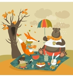 Animals at picnic in autumnal forest vector