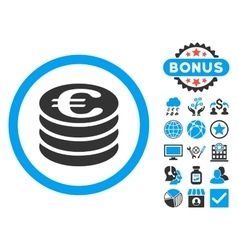 Euro coin column flat icon with bonus vector