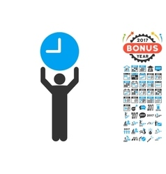 Time manager icon with 2017 year bonus pictograms vector