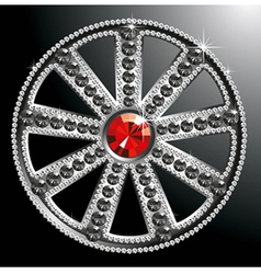 Expensive silver diamond wheel vector