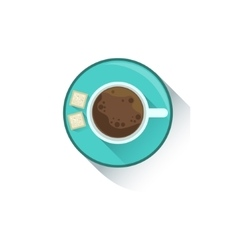Cup Of Coffee With Two Cubes Of Sugar Office vector image