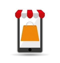 online shopping yellow bag gift design vector image