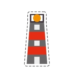 Lighthouse building sea cut line vector