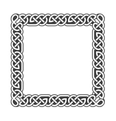 Square celtic knots medieval frame in black vector