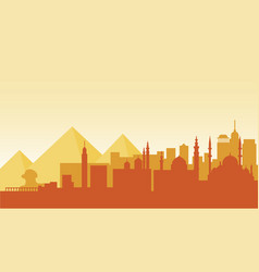 Egypt silhouette architecture buildings town city vector