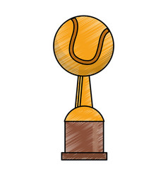 drawing tennis winner cup prize vector image
