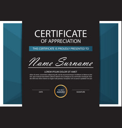 Blue elegance horizontal certificate with vector