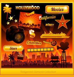hollywood cinema movie elements vector image
