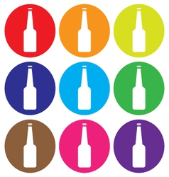 Glass bottle icon set vector
