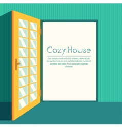 Vintage living colorful open door on house vector