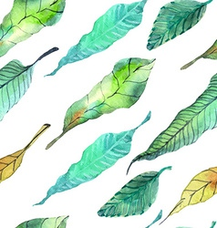 Watercolor leaves seamless floral background vector