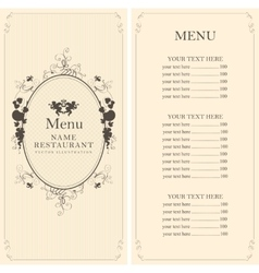 Menu with floral ornaments vector