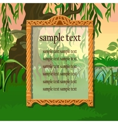 Vintage golden frame on a woodland background vector
