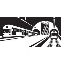 Platform of subway station with trains vector