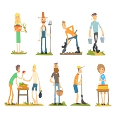Summer farm activities flat set vector