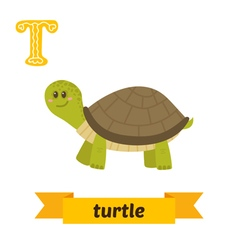 Turtle t letter cute children animal alphabet in vector